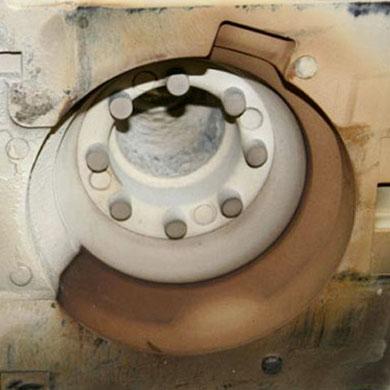 Fundición - ejemplo de moldes antes de su limpieza mediante un proceso FISA